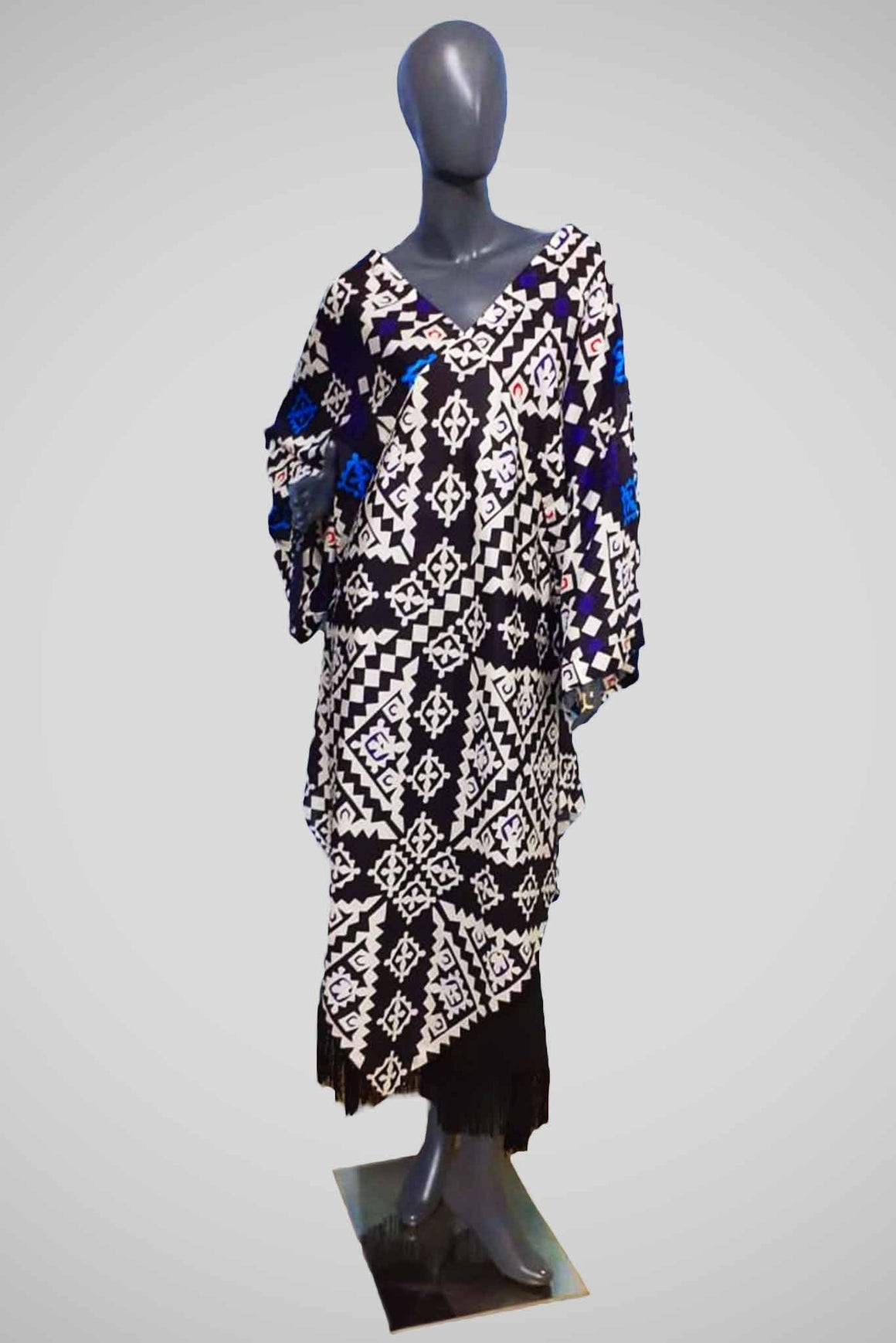 Maheen Khan - Black & White Kaftan - W 95