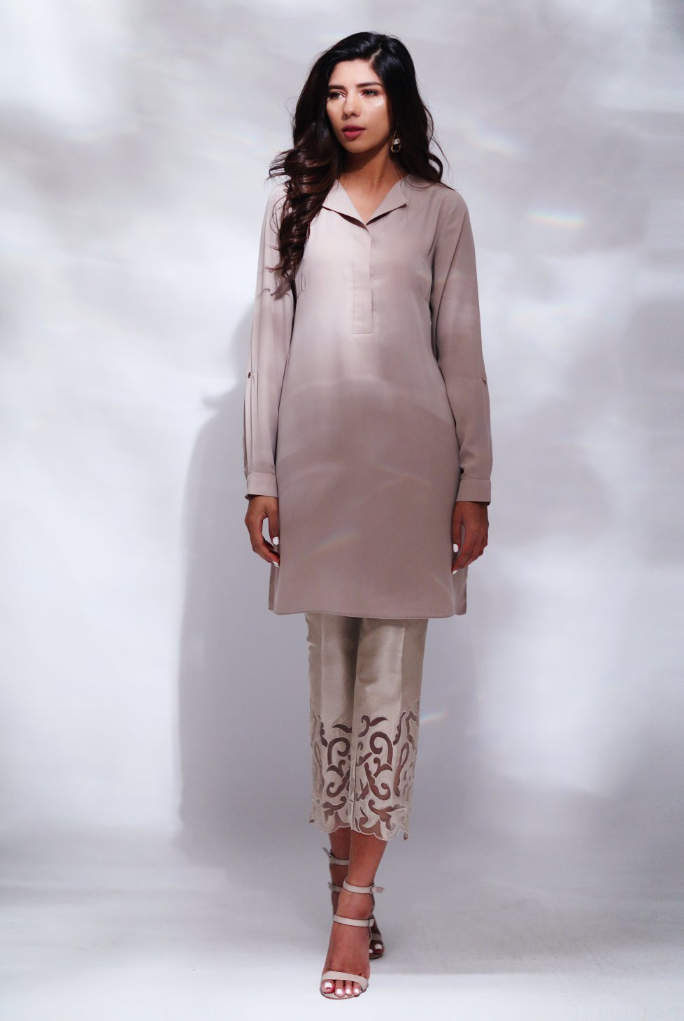 Natasha Kamal - Mell Beige Soft Collared Tunic & Handcrafted Applique Pants
