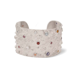 Vanessa Heaney - Moonscape Silver Cuff With Multicoloured, Semi-Precious Gemstones