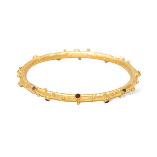 Vanessa Heaney - Moonscape Gold Bangle With Multicoloured Gemstones