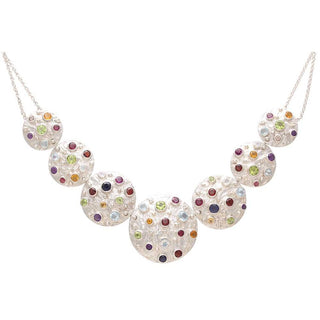 Vanessa Heaney - Moonscape Statement Silver Necklace With Multicoloured Gemstones