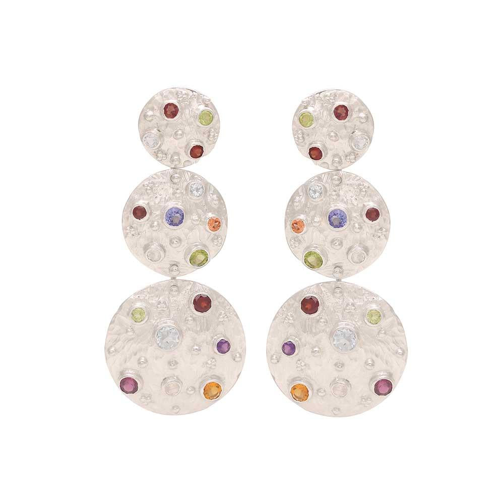 Vanessa Heaney - Moonscape Statement Silver Earrings With Multicoloured, Semi-Precious Stones
