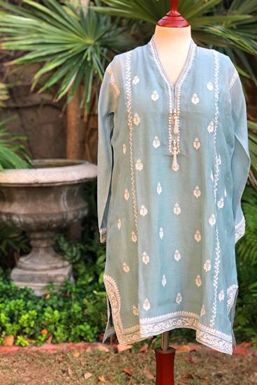Yasmin Zaman - Ice Blue Embroidered Kurta - P-221