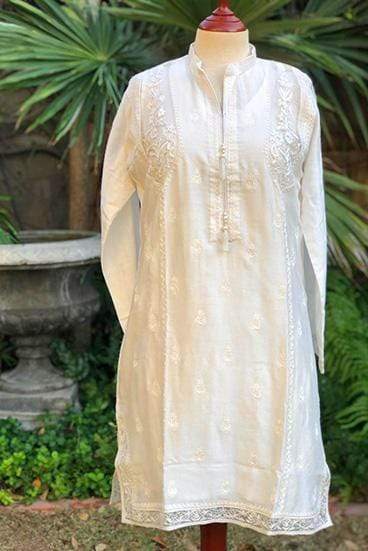 Yasmin Zaman - White Embroidered Kurta - P-222