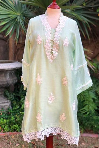 Yasmin Zaman - Mint Green Embroidered Kurta - P-223