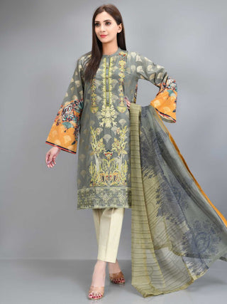 Limelight - Grey Embroidered Jacquard Suit - 2 PC - P3436SU