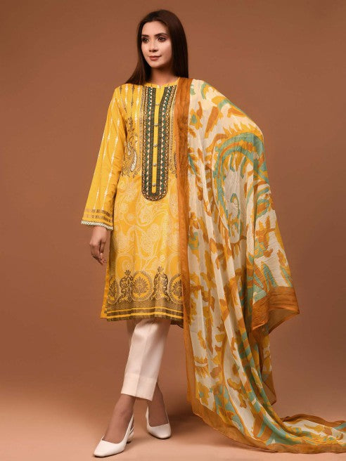 Limelight - Yellow Embroidered Lawn Suit - 2 PC - P3681SU