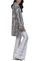 Sania Maskatiya - Black & White Crepe Shirt