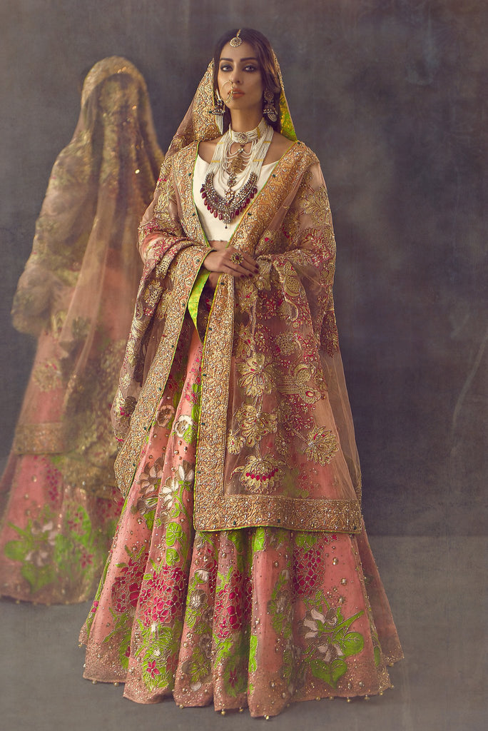 Ali Xeeshan - Pink, White & Gold Raw Silk Bridal Dress