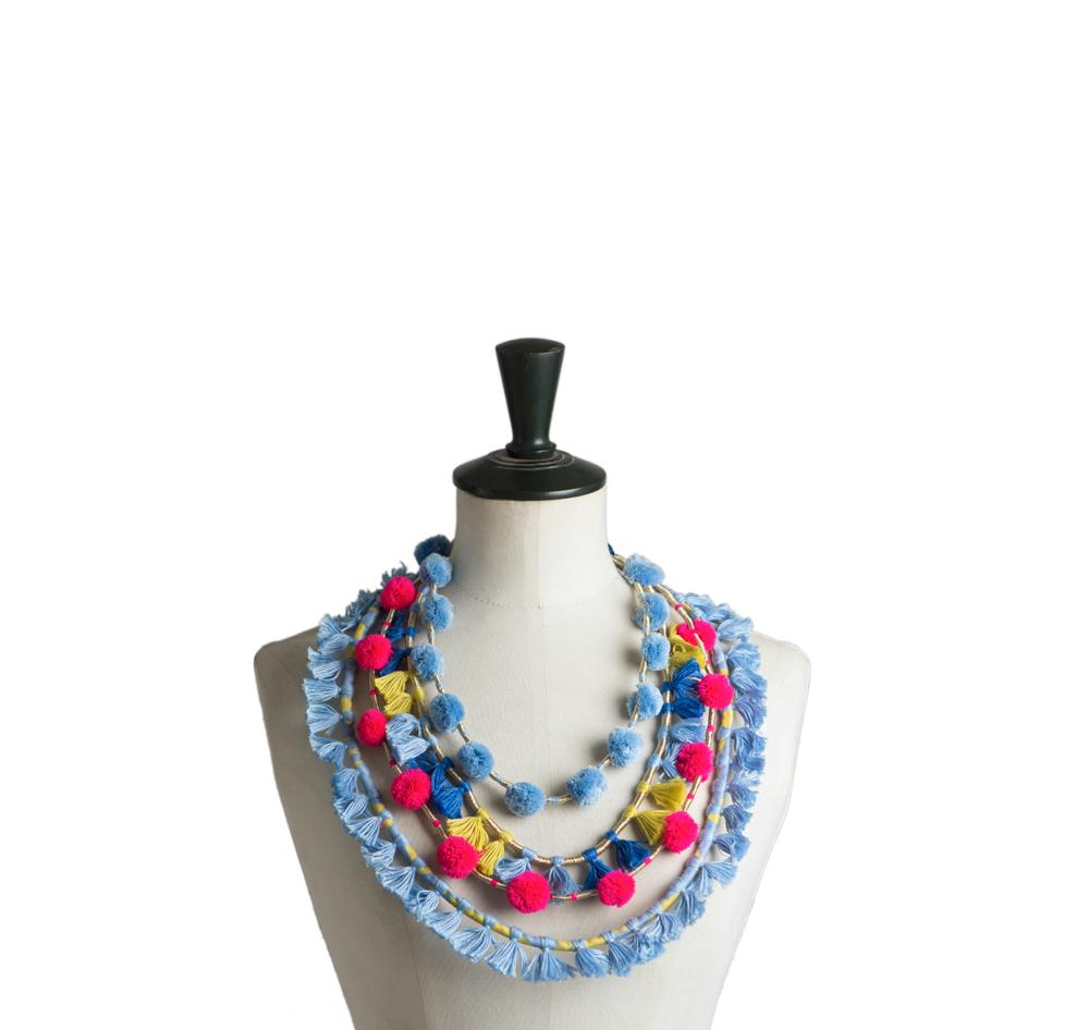 Mahin Hussain - Pompom Delight Necklace From Umerkot
