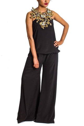 Maheen Karim - Black Georgette Tube Top Jumpsuit With Crystal Neck Piece