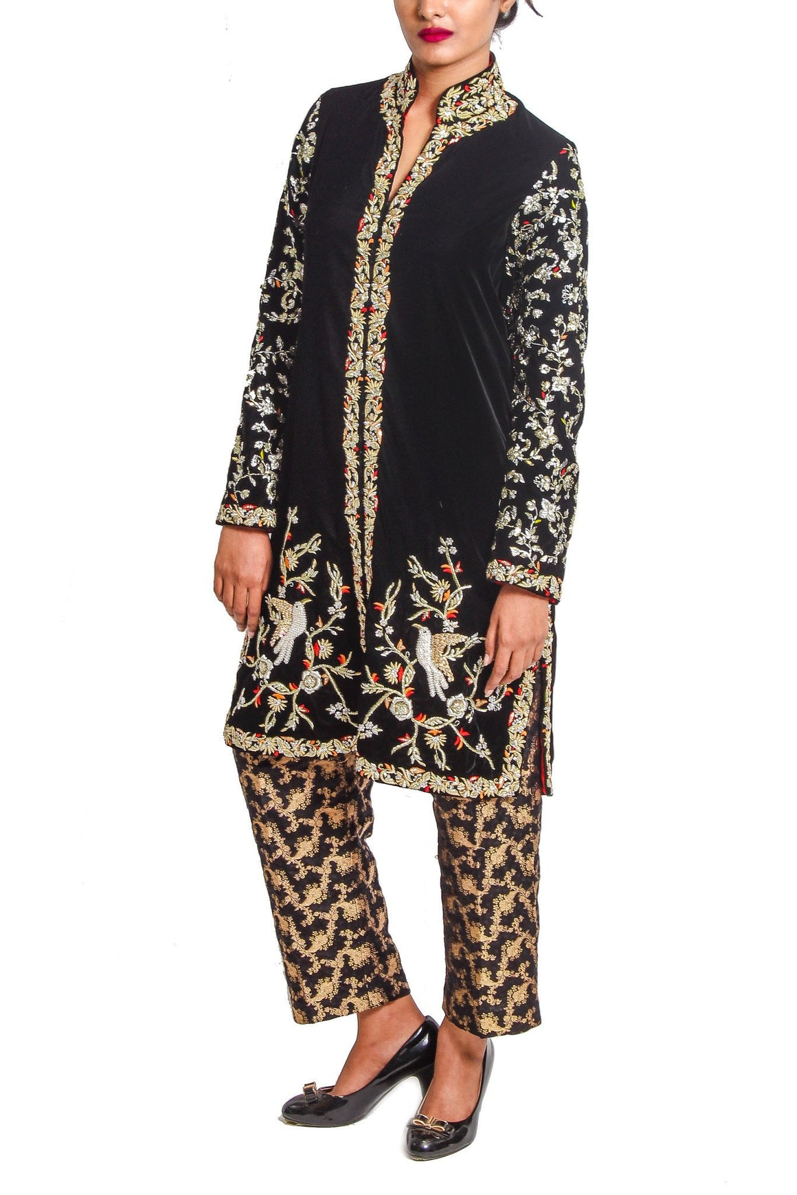 Maheen Karim - Black Velvet Bird Coat with Cigarette Pants