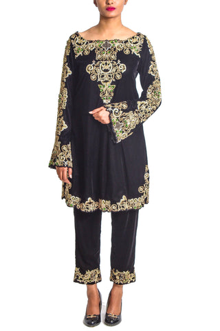 Maheen Karim - Black Velvet Zardozi and Emerald Tunic with Velvet Cigarette Pants