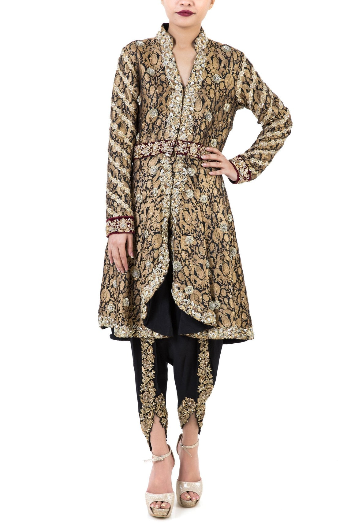 Maheen Karim - Black & Gold Jamawar Zardozi Peplum Coat with Pants