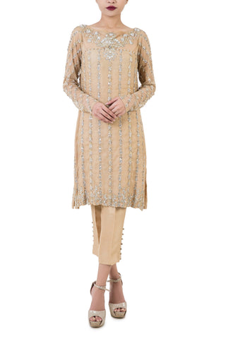 Maheen Karim - Nude Net & Silk  Tunic with Zardozi Embroidery and Cigarette Pants