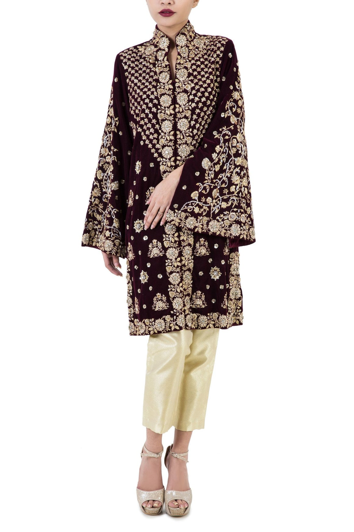 Maheen Karim - Plum Velvet Jacket with Zardozi Hand Embroidery And Pants