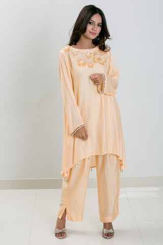Mehr - Peach cotton net A - Line sequined shirt with pants