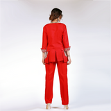 Rizwan Beyg - Red Pocket Worked Short Jacket