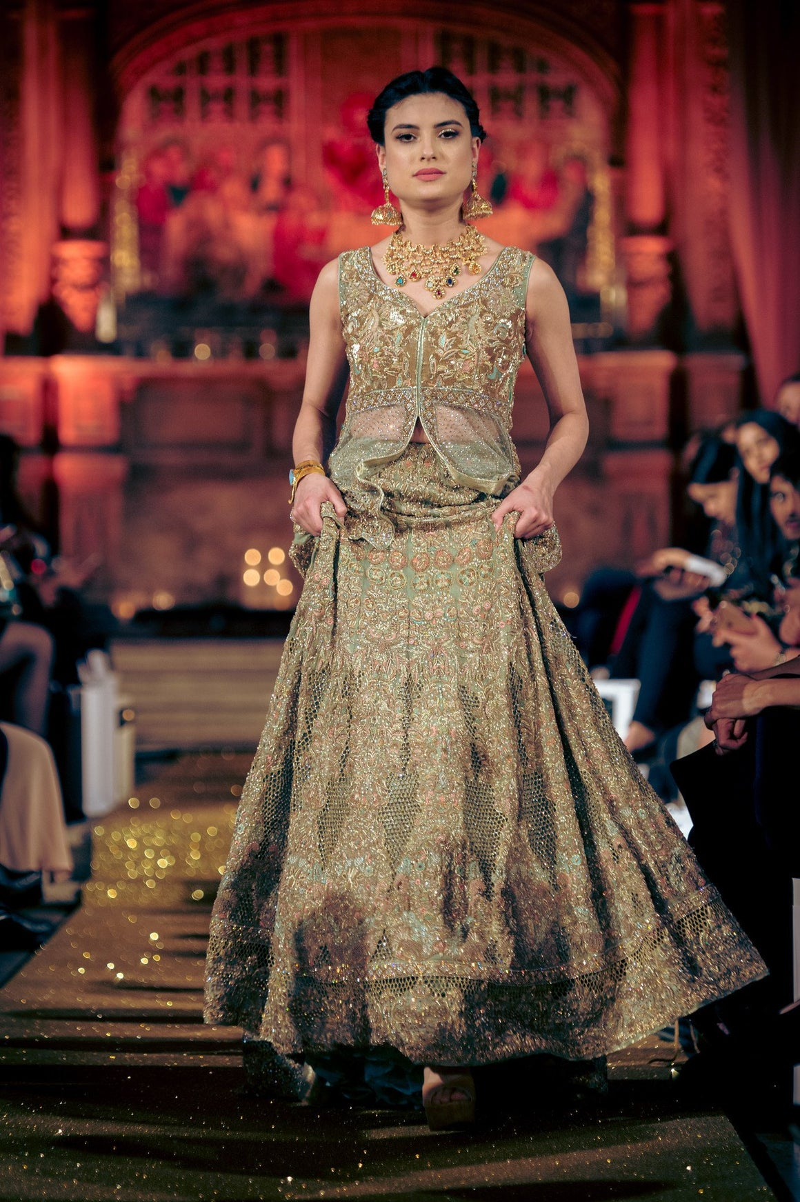 Rani Emaan - Net Short Gown Lehnga & Duppata - Prismatic bloom