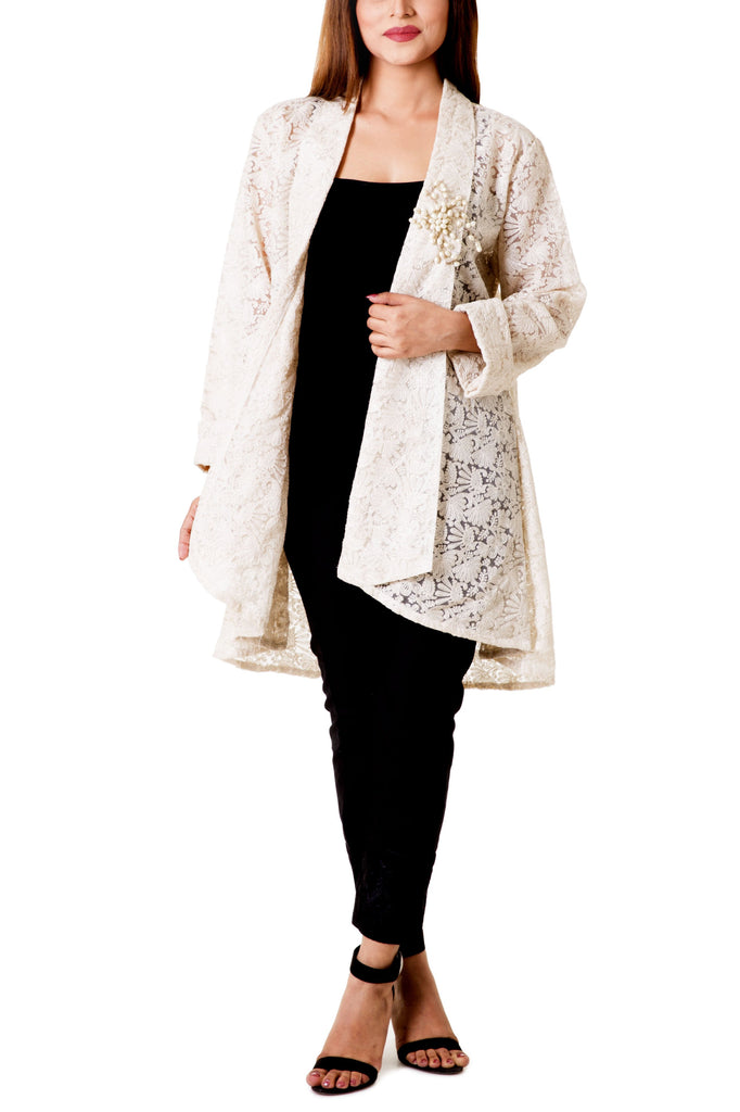 Mehreen Noorani - Royal Princess Cream Embroidered Cotton Organdy Jacket