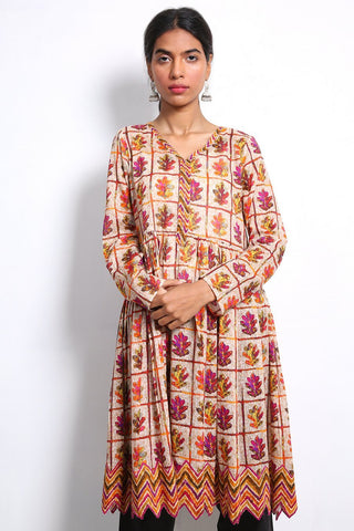 Generation - Beige Hooked Kurta - 1 PC
