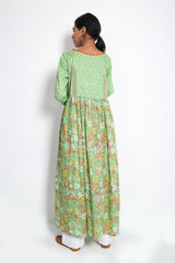 Generation - Green Beaded Printed Dress - 1 PC