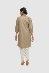 Generation - Grey Goldsmith Puff Sleeves Kurta - 1 PC