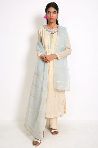 Generation - Off White Mughal Minima Jharoka Suit - 3 PC