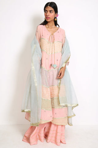 Generation - Pink Mughal Minima Colour blocked Suit - 3 PC