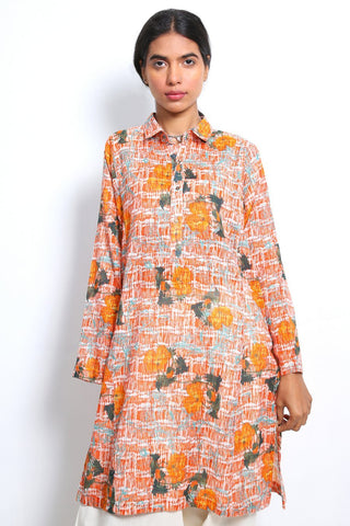 Generation - Carrot Ocean Flora Kurta - 1 PC