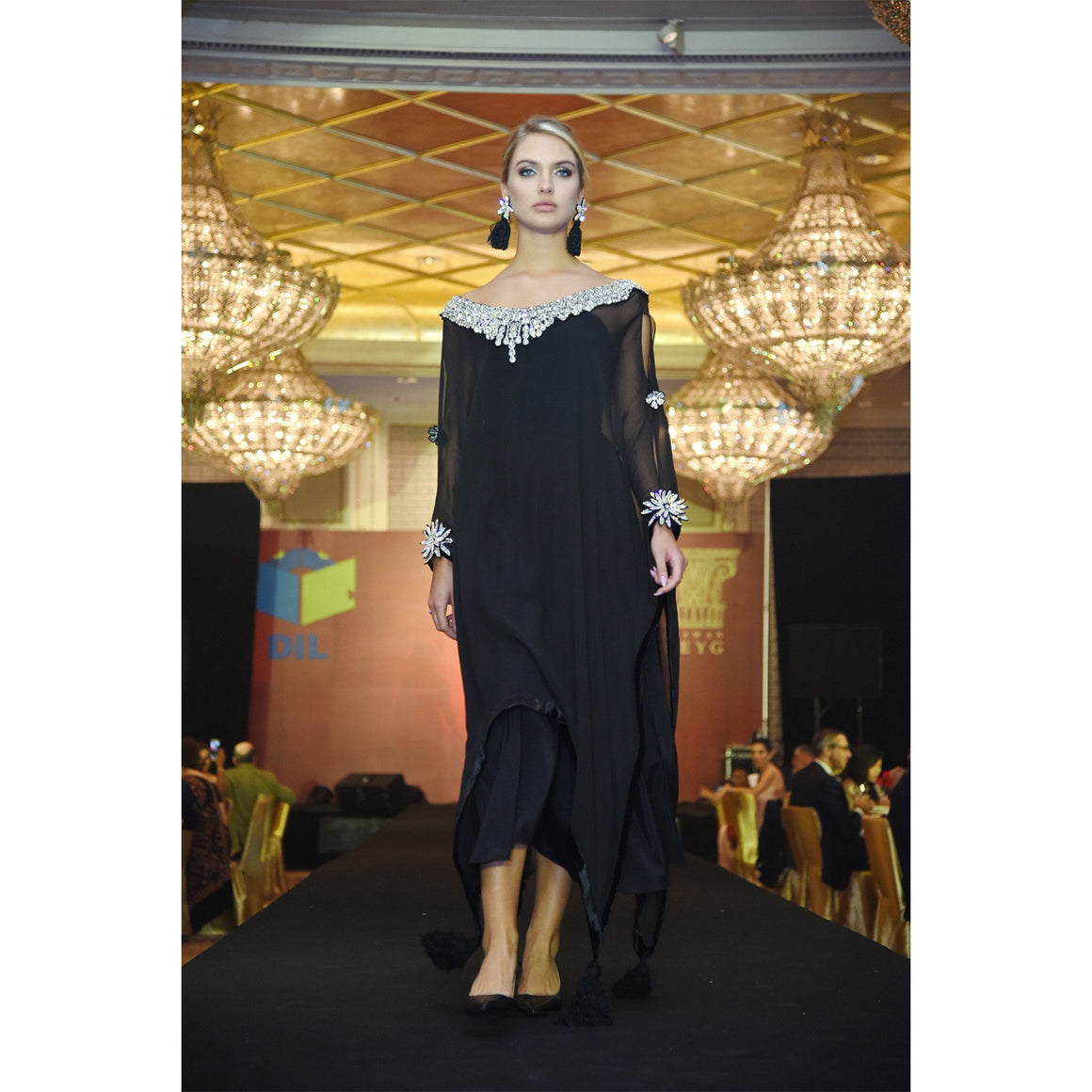 Rizwan Beyg - Black Poncho With Silver Diamante Neck