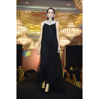 Rizwan Beyg - Sleeveless Long Dress Work On Neck