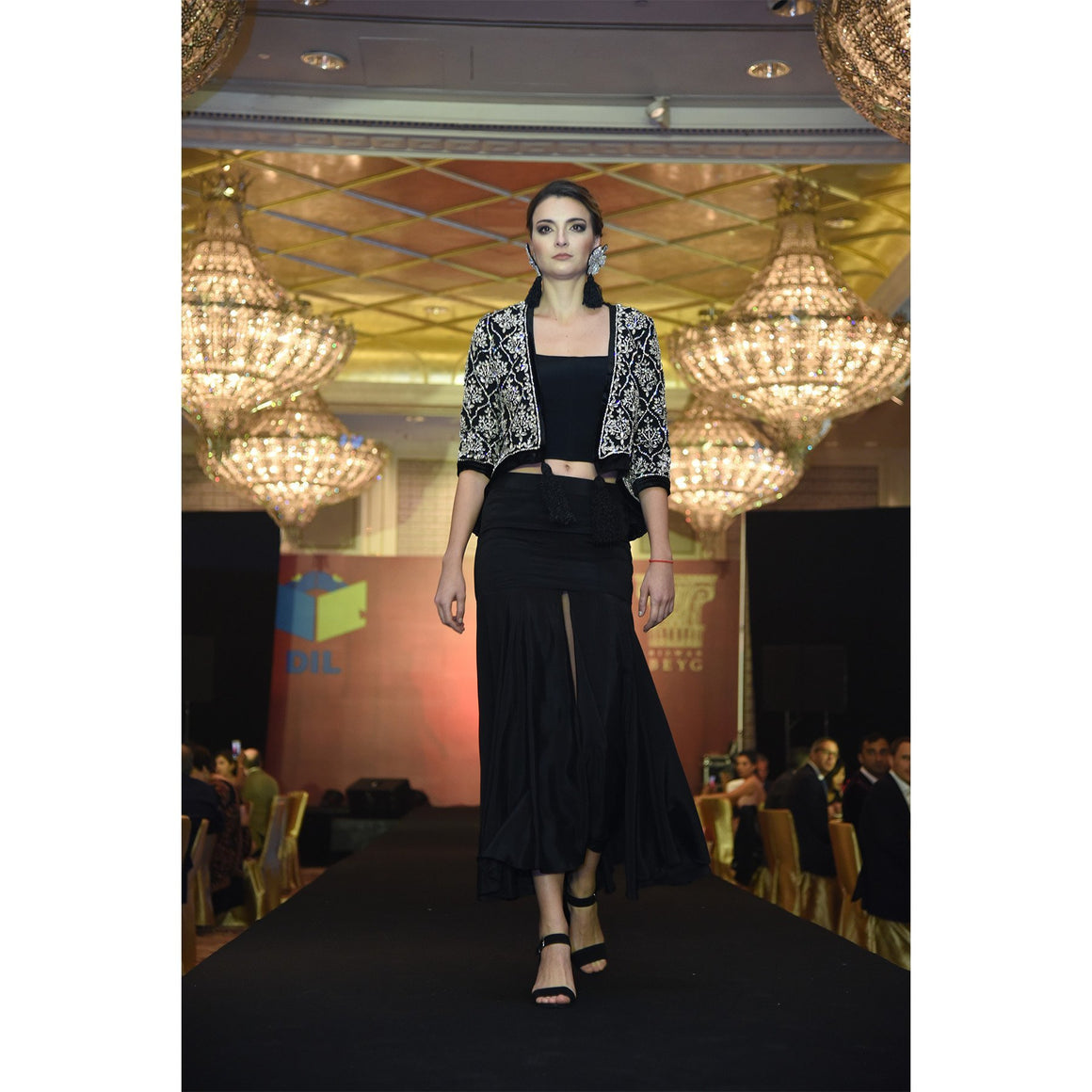 Rizwan Beyg - Diamante Encrusted Black Crop-Top Velvet Jacket