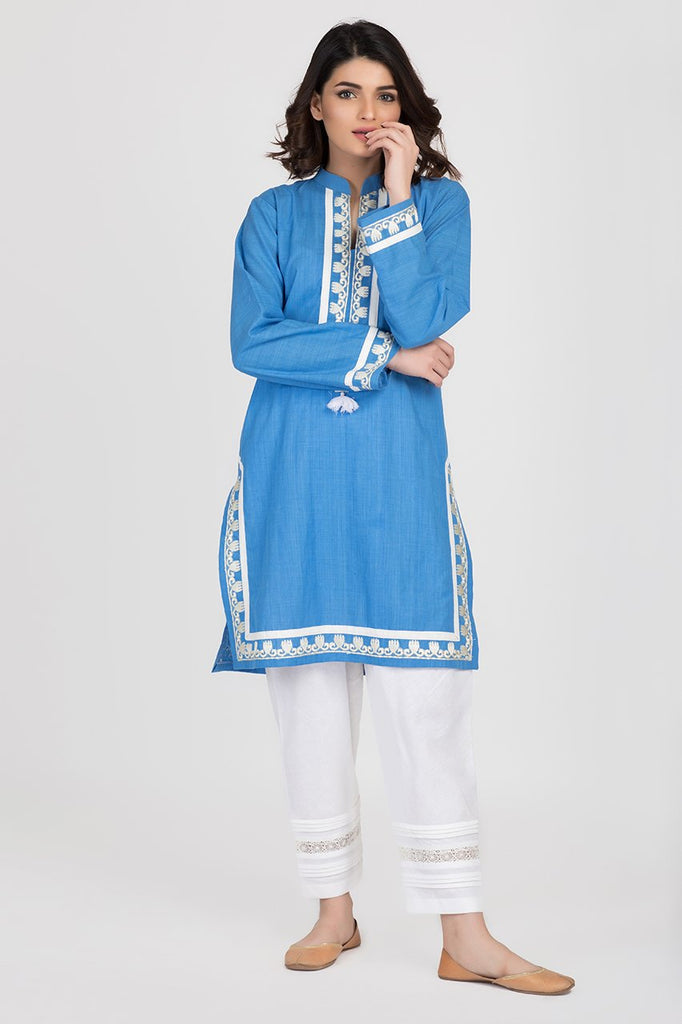 Shehrnaz - Royal Blue Cotton Toori Bunch Shirt
