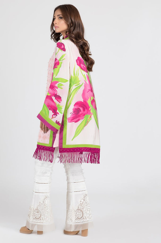 Shehrnaz - Pink Plum Flower Screen Print Suit
