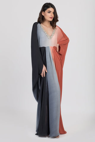Shehrnaz - Black Crepe Shaded Kaftan