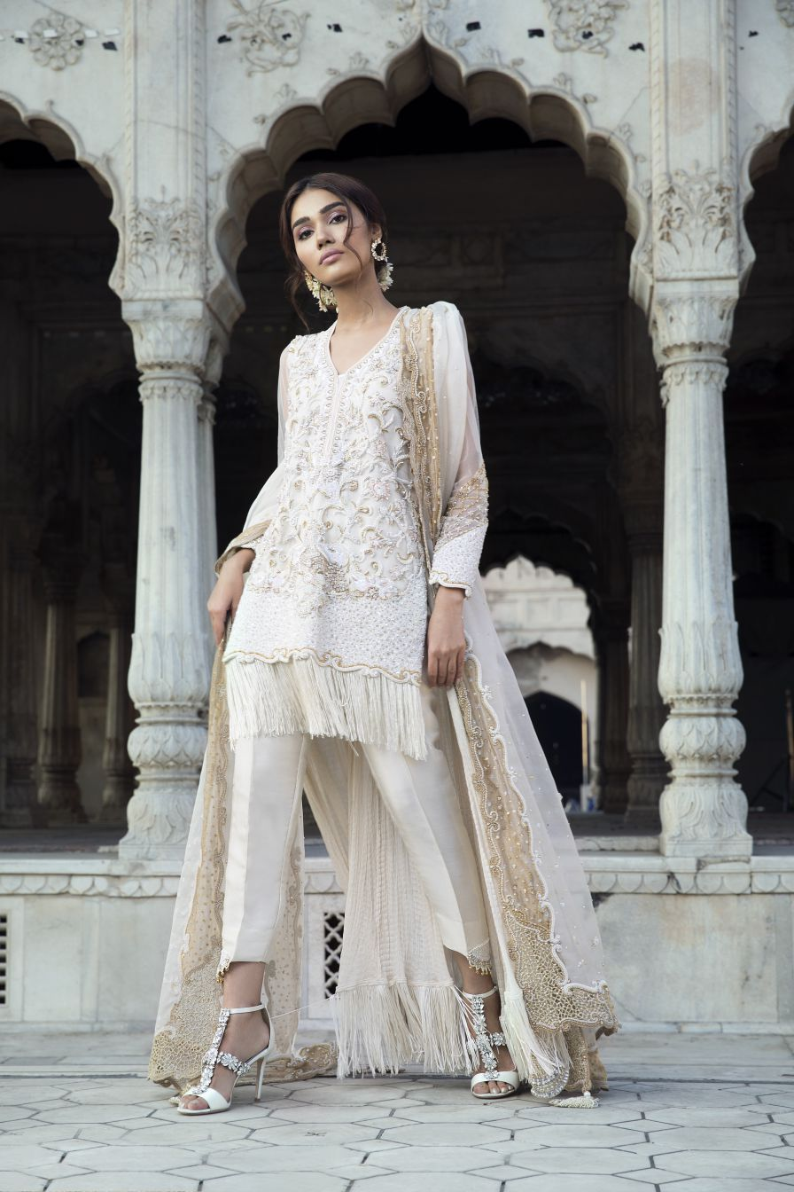 Saleha Kashif - Ivory high low outfit