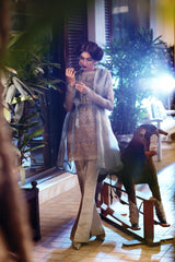 Saleha Kashif - Shaded Green Outfit With Trench Coat