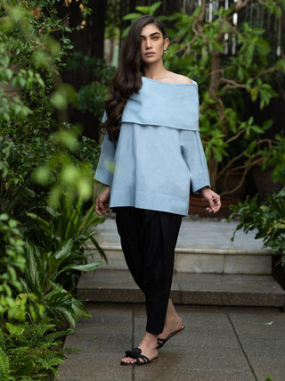 Misha Lakhani - Powder Blue Obi Top