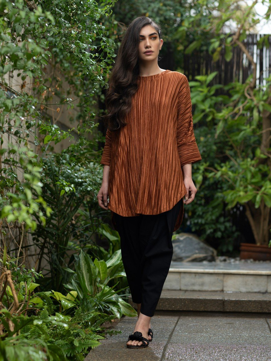 Misha Lakhani - Rust Metallic Lily Top