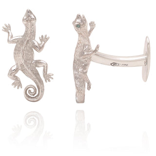 Vanessa Heaney - Silver Salamander Cufflinks with Emerald Eyes