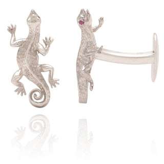 Vanessa Heaney - Silver Salamander Cufflinks with Ruby Eyes