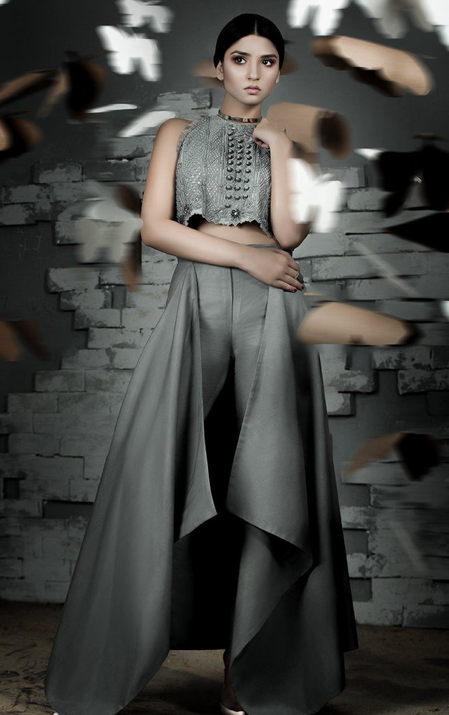 Tena Durrani - Gray Slate Seraphim Embroidered Organza Crop Top With Silk Pants