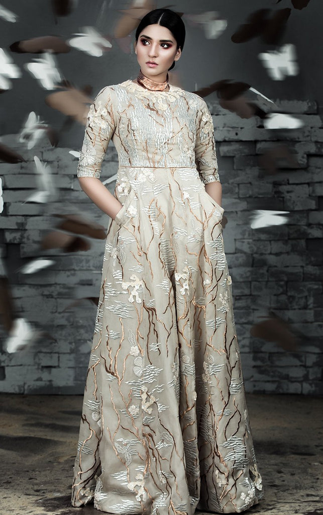 Tena Durrani - Cream Sumerian Embroidered Organza Dress