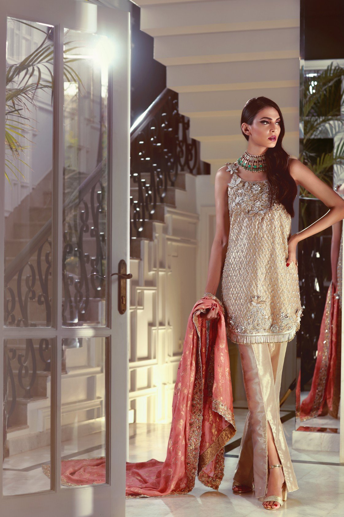 Maheen Karim - Dull Gold Spaghetti Strapped Tunic With Pants & Dupatta
