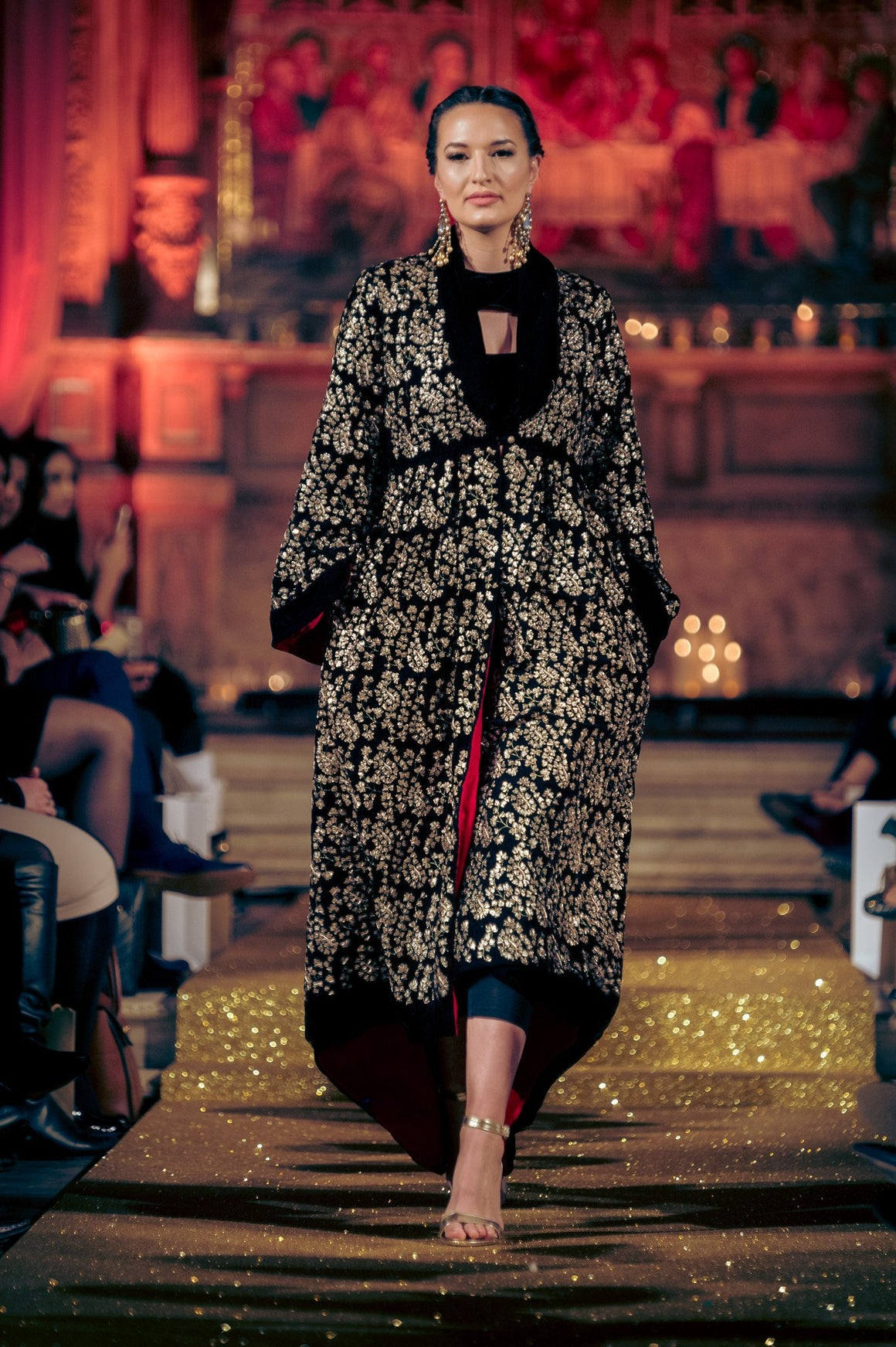 Seher Tareen - Black Velvet Hand Worked Coat With Sari & Blouse