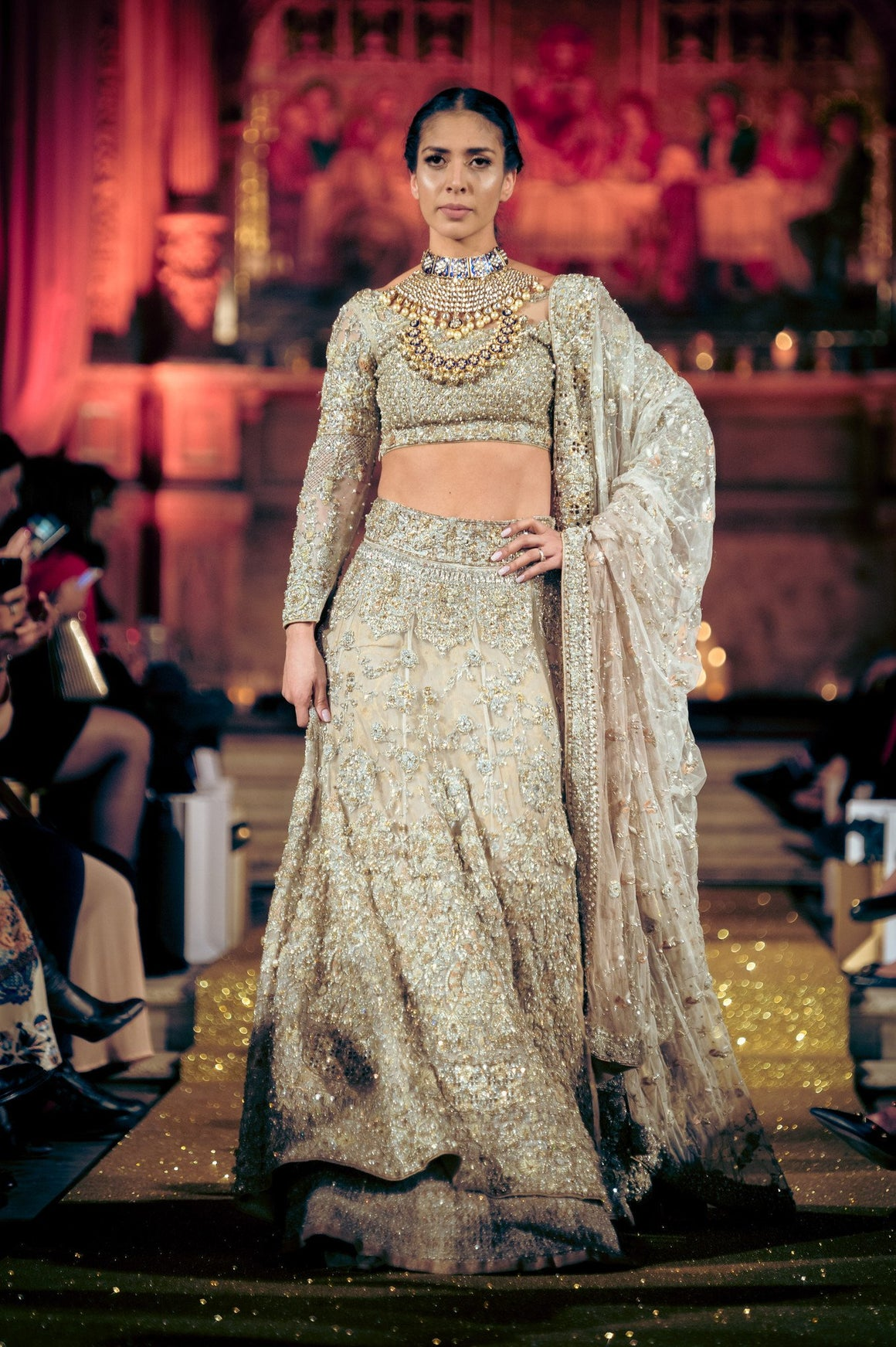 Rani Emaan - Net Double Layered Lehnga Cholie &  Duppatta - The Radiant Aura