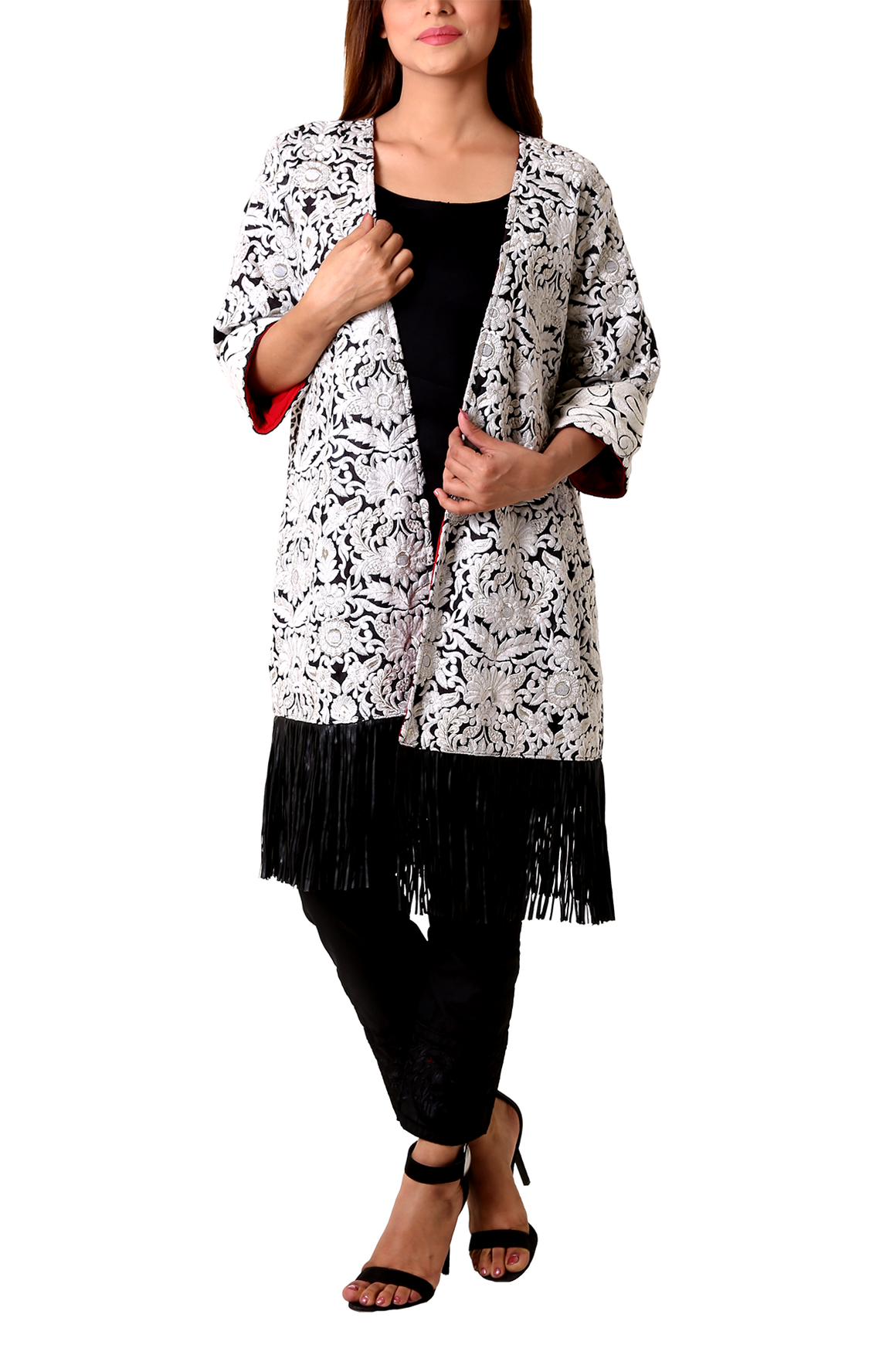 Mehreen Noorani - The Royal Coat Black & White Embroidered Gaara Cotton Silk Coat