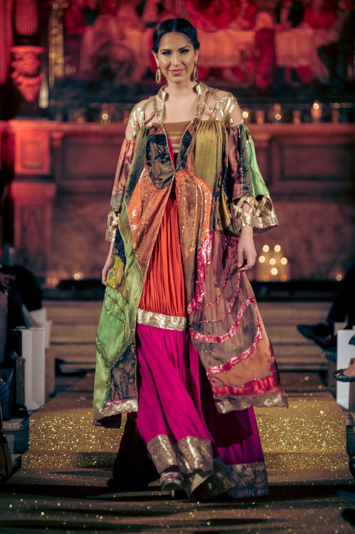 Seher Tareen - Painting Printed Coat With Lehnga & Blouse