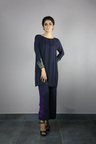 Urooj Fahd - Navy Blue Pintex Top - 2 PC